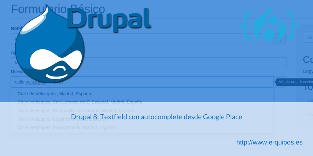 Cabecera Drupal 8 - Textfield con autocomplete desde Google Place