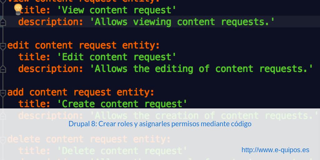 Cabecera - Drupal 8: Crear roles y asignarles permisos mediante código