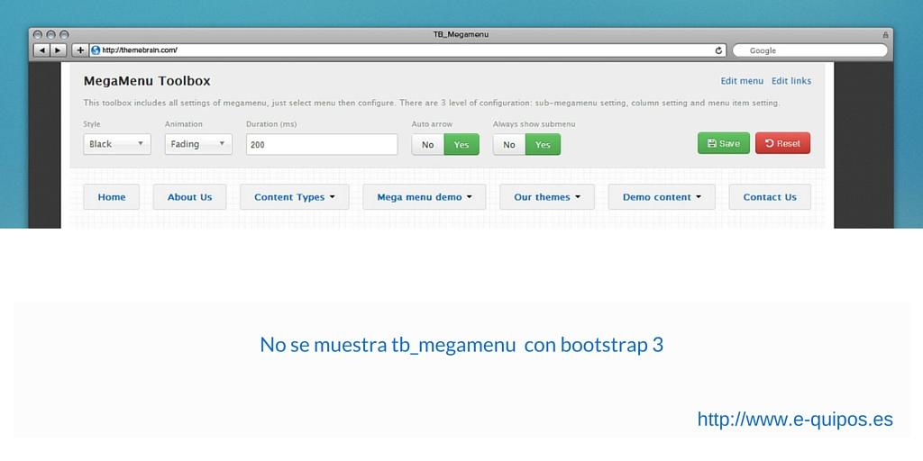 Imagen con  pantalla de configuración del módulo tb_megamenu